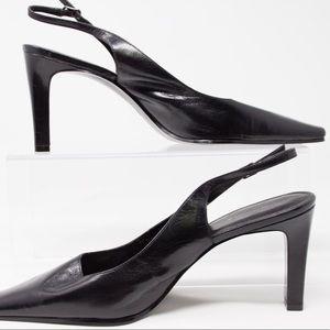 fe3cf1f07a Bandolino Shoes | Womens Black Leather Heeled Sling Back Shoe 95m ...